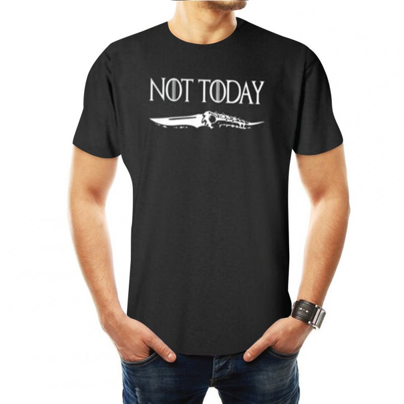 Summer Casual Game of Thrones Not Today Arya Stark Short Sleeve T-shirt for Women Men Black C_XXS