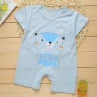 Summer Cute Cartoon Bear Pattern Printing Thin Short Sleeve Romper for Infnat Baby