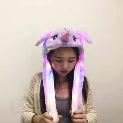 Summer Cute Funny Girl Women Hat with Moving Ears   C2 Unicorn (Purple)