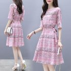 Summer Elegant A-line Ribbon Dress Boat Neck Thin Stripe Half Sleeves Casual Loose Dress Pink_L