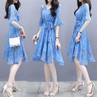 Summer Elegant Slim V-neck Dress Floral Dot Short Flare Sleeves Middle Long Ribbon Dress blue_M