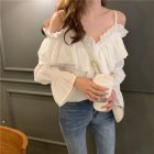 Summer Girl Flounce Off Shoulder Fashion Halter Design V-neck Shirt white_One size