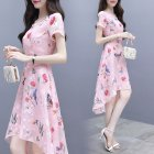 Summer Irregular Middle Long Dress Flower Bird Short Sleeves Slim Causal Dress Pink_M