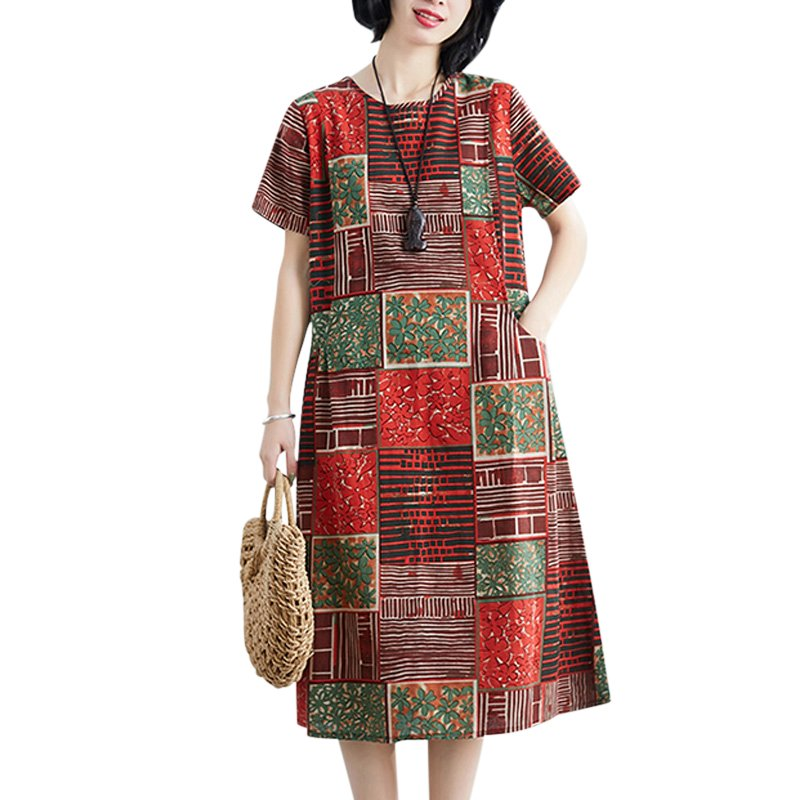 Summer Loose Round Neck Short Sleeve Printed Waist Mid-length Dress For Women Orange_L