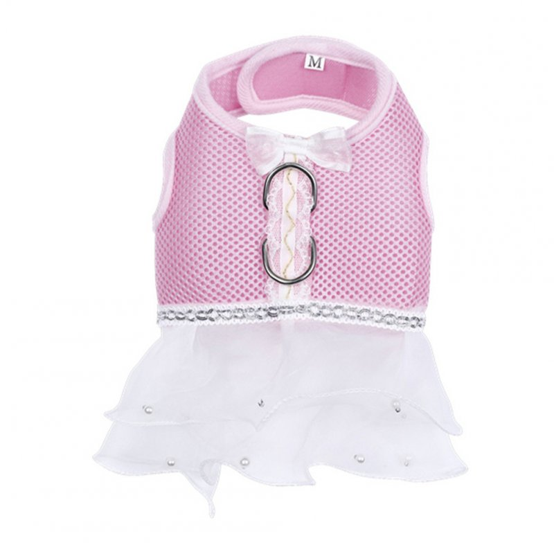 Summer Pet Breathable Mesh Dress with Leash Buckle for Cat Dog Outdoor Pink_L