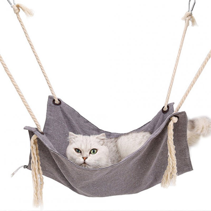 Summer Pet Hanging Nest Breathable Cotton Linen Tassels Hammock for Cats light grey_47*47CM