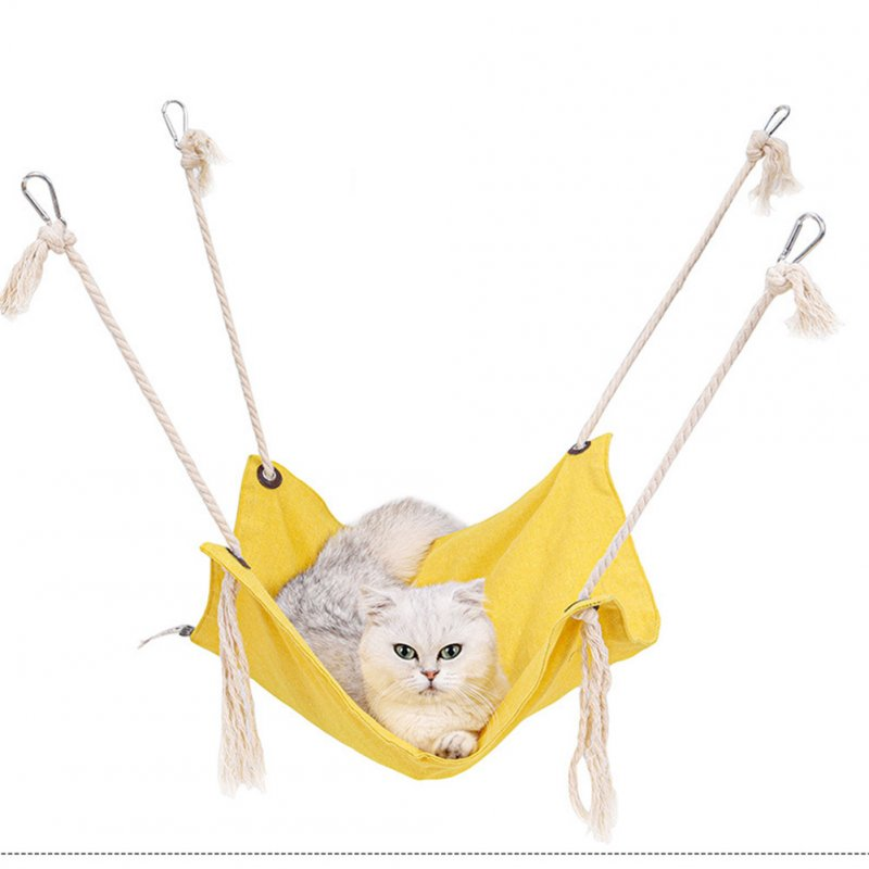 Summer Pet Hanging Nest Breathable Cotton Linen Tassels Hammock for Cats yellow_47*47CM