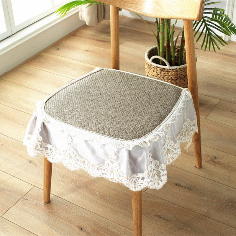 Summer Seat Pad Cover Ice Silk Lace Brim Vine Cool Dining Chair Cushion 40*45cm Flower gray_40 * 45cm