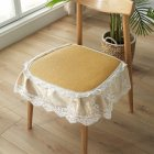 Summer Seat Pad Cover Ice Silk Lace Brim Vine Cool Dining Chair Cushion 40*45cm Gold_40 * 45cm