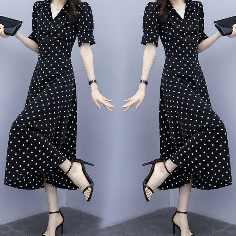 Summer Slim V-neck A-line Dress Simple Dot Flare Sleeves Middle Long Causal Dress black_XL