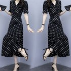 Summer Slim V-neck A-line Dress Simple Dot Flare Sleeves Middle Long Causal Dress black_M