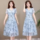 Summer Slim V-neck Floral Dress Elegant Short Sleeves Middle Long Printing Causal Dress blue_3XL