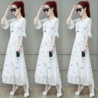 Summer Slim V-neck Long Dress Simple Flower Flare Sleeves Causal Dress yellow_L