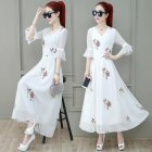 Summer Slim V-neck Long Dress Simple Flower Flare Sleeves Causal Dress red_L
