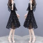 Summer Slim V-neck Ribbon Dress Elegant Star Flare Sleeves Middle Long Printing Dress black_M