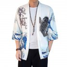 Summer Spring Man Casual Shirts Large Size Pure Color Middle Sleeve Loose Tops  White_M