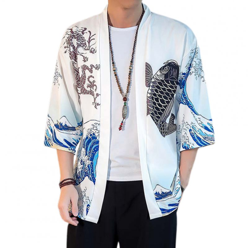 Summer Spring Man Casual Shirts Large Size Pure Color Middle Sleeve Loose Tops  White_XXL