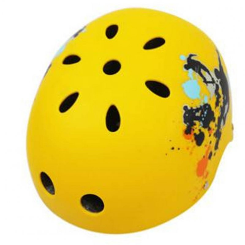 Children Skateboard Helmet Skating Stunt Bike Crash Protective Safety Helmet CE Authentication Exquisite Applique Style sub yellow sports_XL