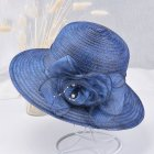 Summer Straw Hat for Women Flowers Sun-shade Solid Color Ultraviolet-proof Wide Brim Hat Foldable Beach Hat Navy