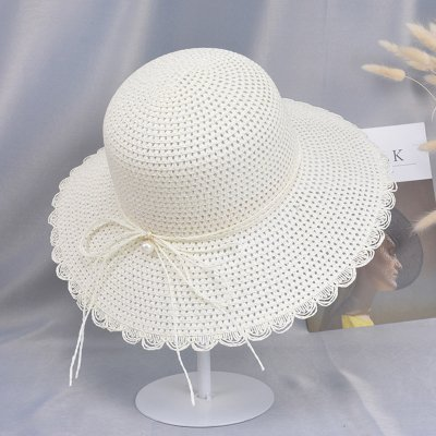 sports shoes best the best Summer Straw Hat for Women Sun-shade Seaside Ultraviolet-proof Beach Hat  Foldable Hat Pearl milk white
