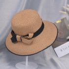 Summer Straw Hat for Women Sun-shade Seaside Ultraviolet-proof Beach Hat Foldable Hat Bow khaki