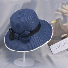 Summer Straw Hat for Women Sun-shade Seaside Ultraviolet-proof Beach Hat Foldable Hat Bow navy
