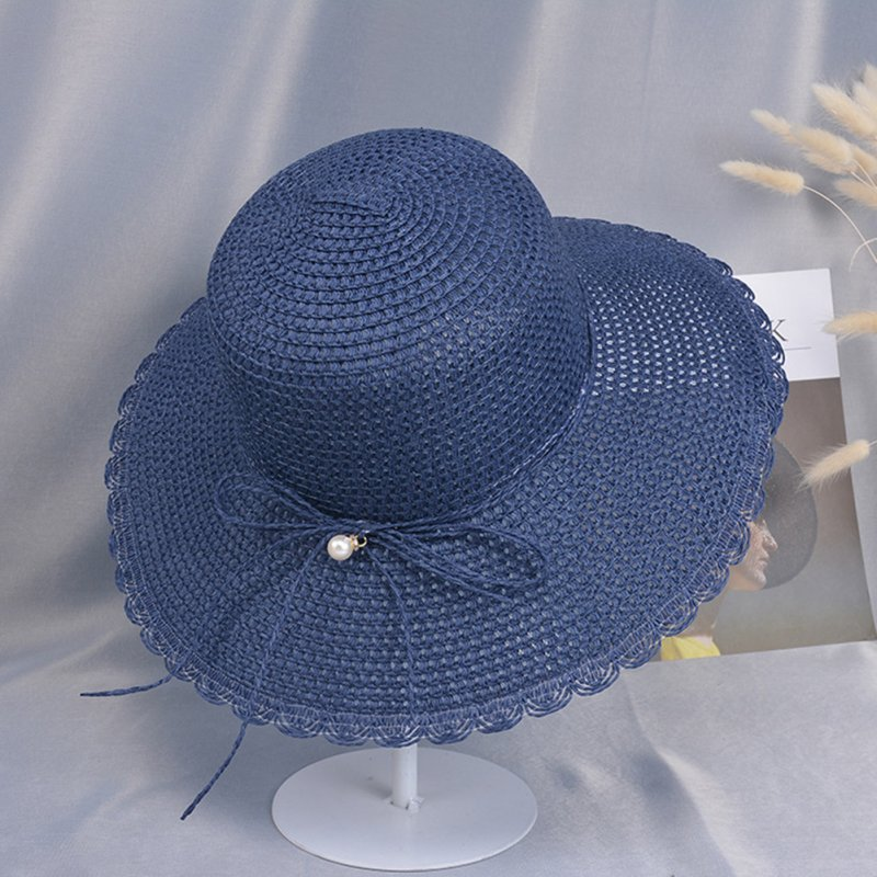 Summer Straw Hat for Women Sun-shade Seaside Ultraviolet-proof Beach Hat Foldable Hat Pearl navy