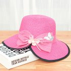 Summer Straw Hat for Women Sun-shade Seaside Ultraviolet-proof Beach Hat Foldable Hat Split rose