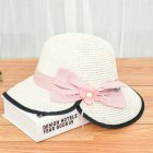 Summer Straw Hat for Women Sun-shade Seaside Ultraviolet-proof Beach Hat Foldable Hat Split milk white