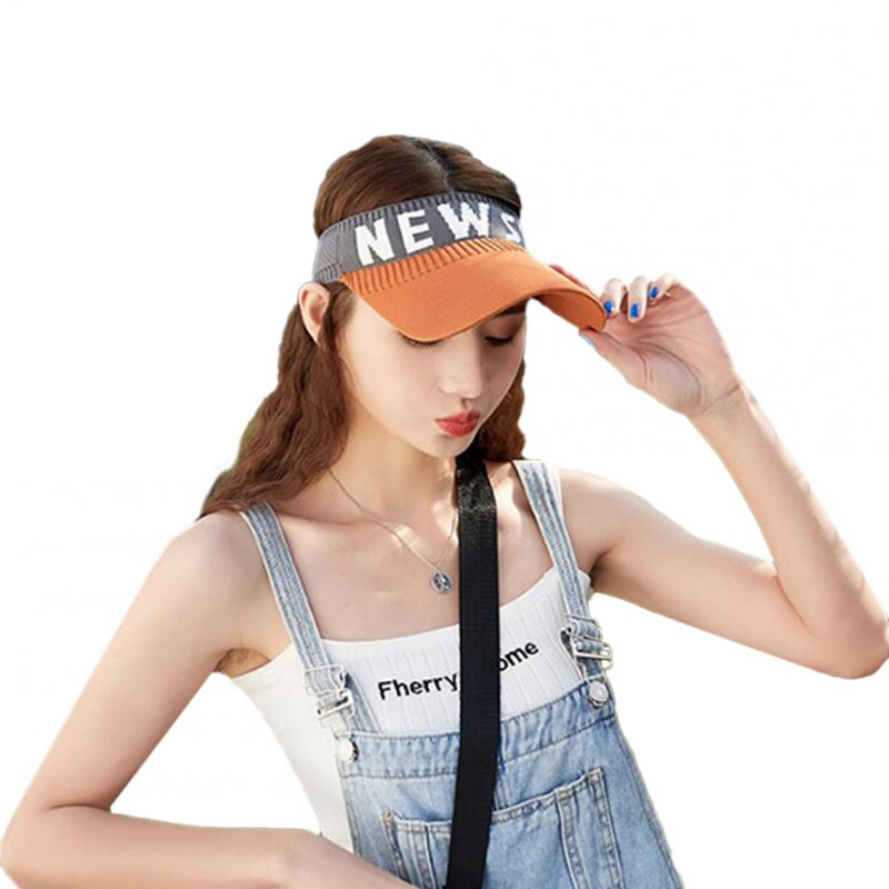 Summer Sun Hat Visor Cap Outdoor Sports Sunscreen Top Hat Orange