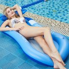 Summer Water Inflatable Floating Row with Cover Sunscreen Foldable Hammock  Noble blue (shade)_160*90