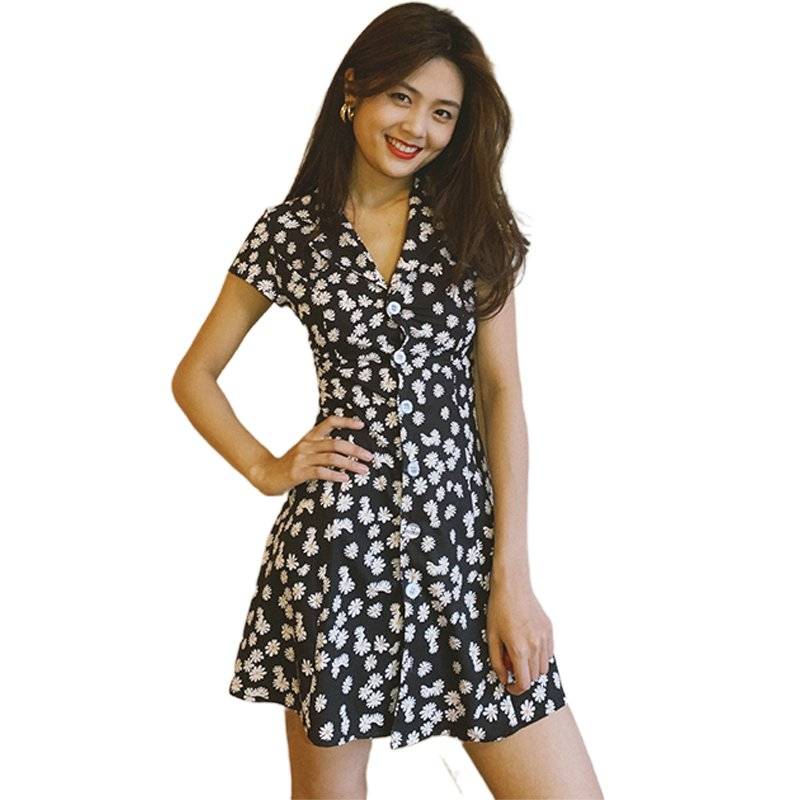 Summer Women Dress Daisy Slim High-waisted Tailored Collar Vintage Girl Floral Dress Small daisies_XL