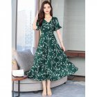 Summer Women Sexy V Collar Short Sleeves Floral Printing Large Hem Beach Dress Dark green_XL