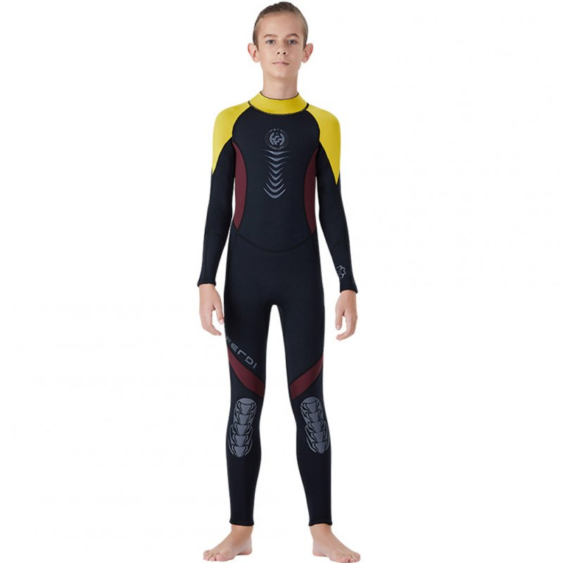 Super Elastic Children Diving Suit 2.5MM Siamese Warm Junior Long Sleeve Surfing Suit yellow_M
