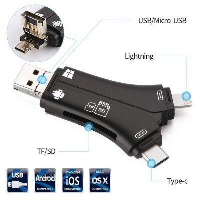 4 in 1 iPhone/Micro usb/USB - Black