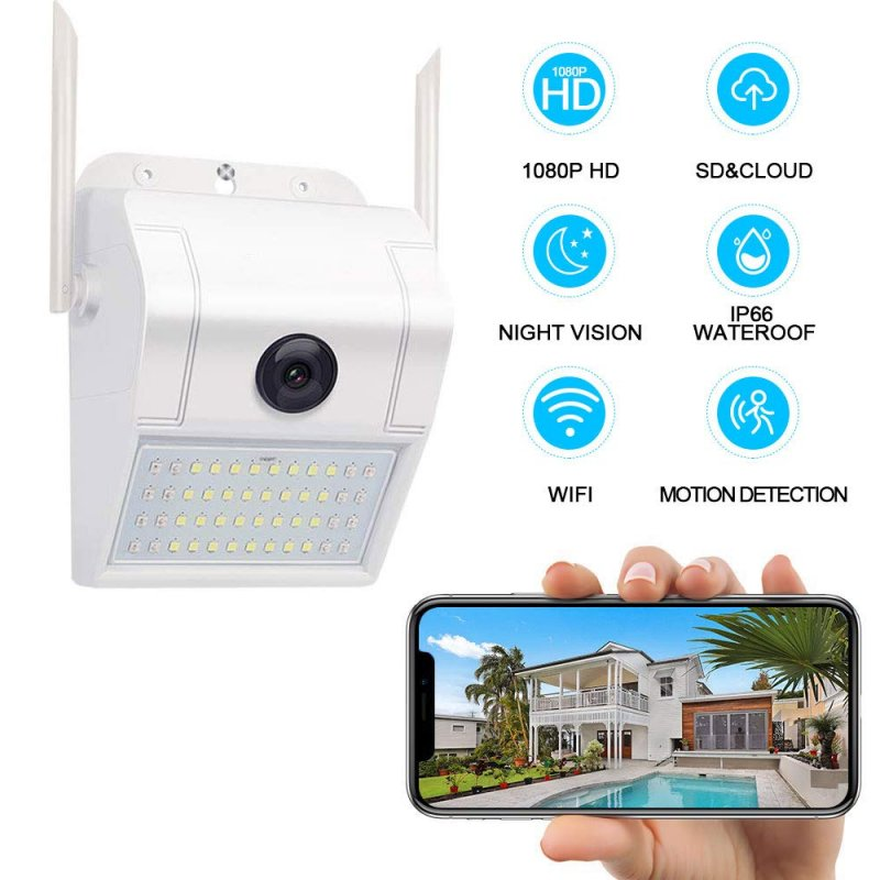 Surveillance Camera Outdoor Home Security Camera 1080P 2.4G WiFi Night Vision with LED Motion Sensor Two-Way Audio Cloud Storage Motion Detection white