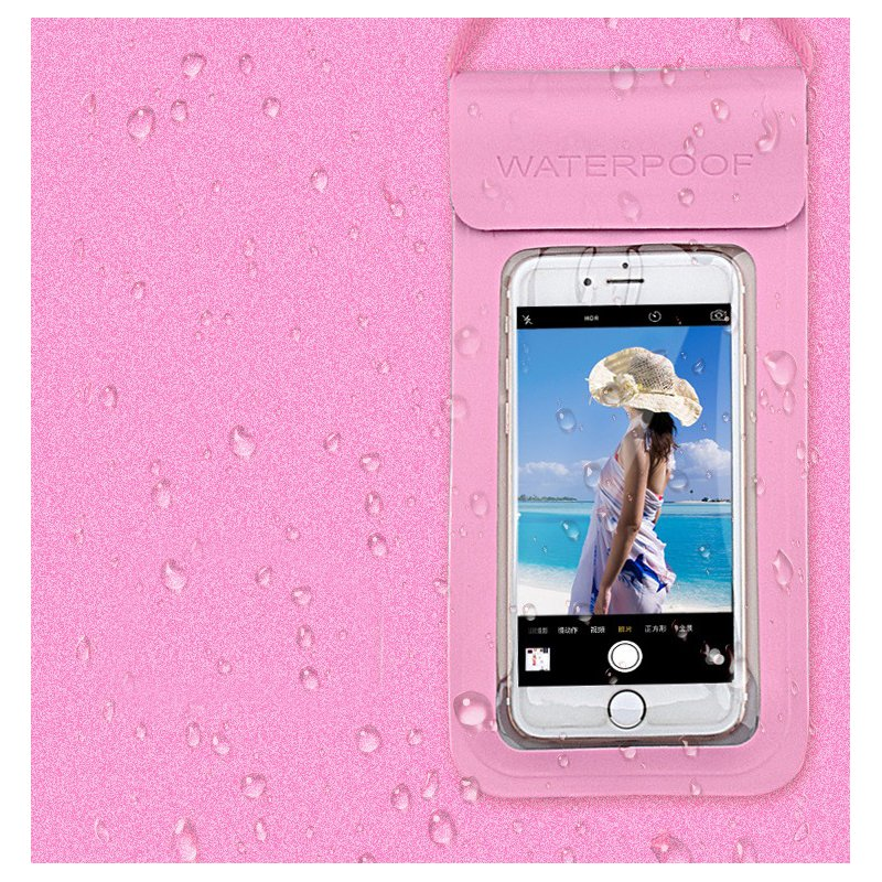 Swimming Waterproof Bag Touch Screen Underwater Phone Case  Pink_5.5 inches