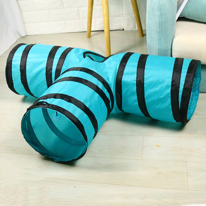 T Shaped Pet Folding Tunnel Interative Scratch Resistant Puzzle Toy for Cats Black blue_80*25*30cm