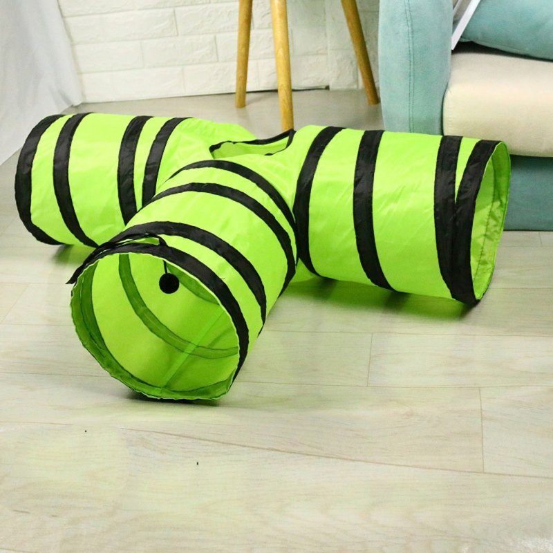 T Shaped Pet Folding Tunnel Interative Scratch Resistant Puzzle Toy for Cats dark green_80*25*30cm