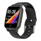 T1 Smart Watch Men Women Body Temperature Measurement Heart Rate Pedometer Band black