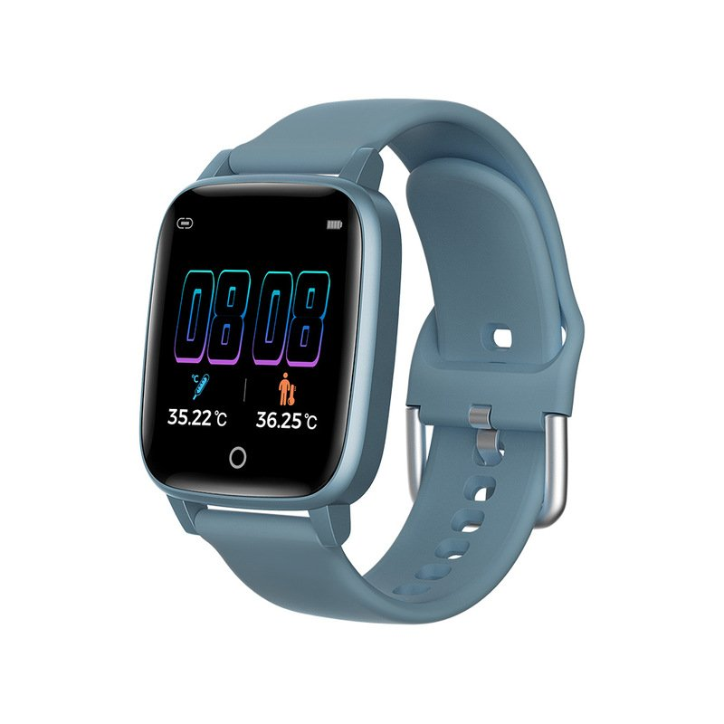 T1 Smart Watch Men Women Body Temperature Measurement Heart Rate Pedometer Band blue