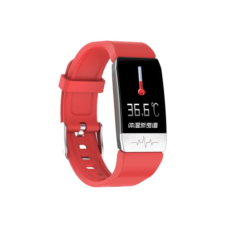 T1 Temperature Detection Smart Bracelet Watch Heart Rate Blood Pressure Monitoring Watch red
