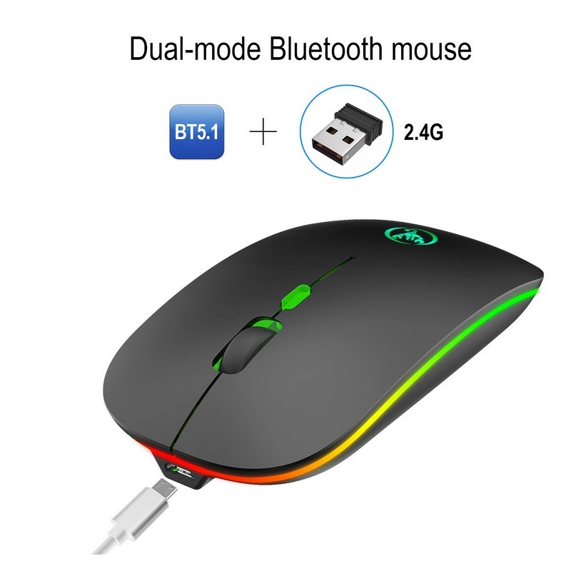 T18 wireless mouse Colorful Bluetooth 5.1 Dual-mode charging wireless mouse mute 2.4g mouse  black