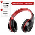 T5 Wireless Bluetooth Headset Foldable Head mounted Headset Running hanging ear stretch computer game headset Black red
