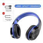 T5 Wireless Headphones Foldable Running Gaming Bluetooth Headset with Microphone dark blue_English version