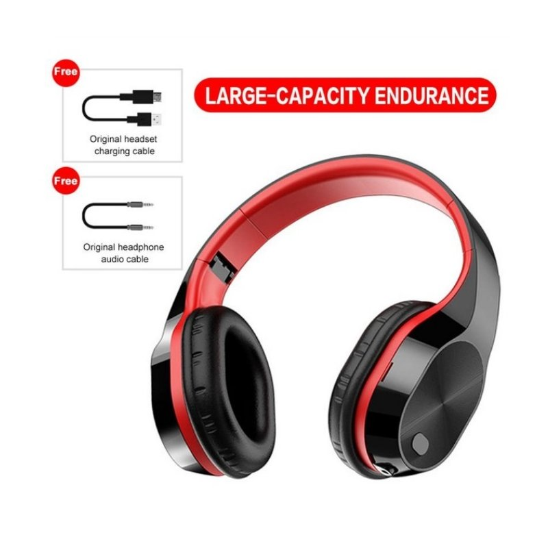 Wholesale T5 Wireless Headphones Foldable Running Gaming Bluetooth Headset With Microphone Black Red English Version From China
