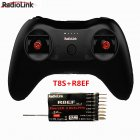 T8S 8CH RC Radiolink Remote Controller Transmitter 2.4G with R8EF or R8FM Receiver Handle Stick for FPV Quad Drone Airplane Car T8S+R8EF left hand throttle