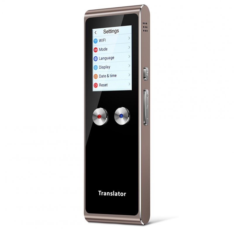 T8S Portable 2.4 Inch Smart Translator WIFI Real Time Voice Picture Translation Touch Screen Brown