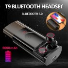 T9 TWS Wireless Bluetooth 5.0 Earphones Stereo HiFi Earphones Earbuds with 6000mAh Charging Case  black