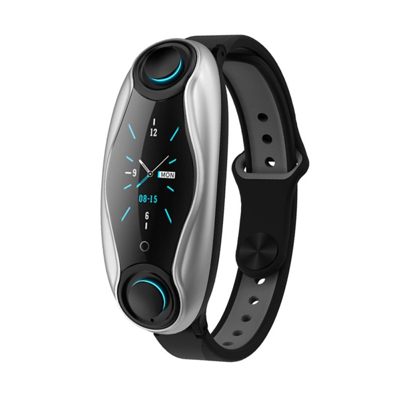 T90 Fitness Bracelet Bluetooth 5.0 with Wireless Earphones IP67 Waterproof Sport Smart Watch Clock for Android IOS Phone black